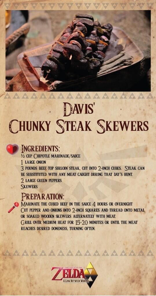 Davis' Chunky Steak Skewers from Play With Your Food: Zelda Edition