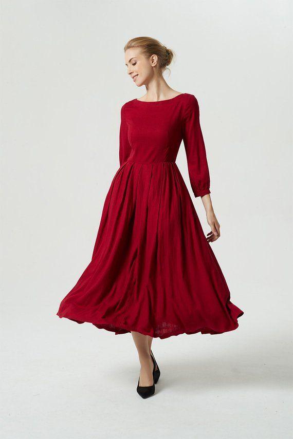 Rode Linnen Jurk.Long Linen Dress Red Dress Long Dress Maxi Dress Pleated Dress