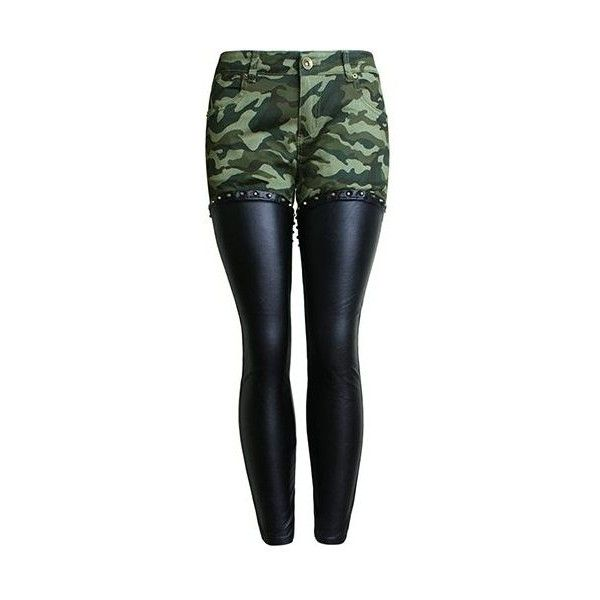 Camouflage Print Zipper Design PU Patchwork Pants (48 CAD) ❤ liked on Polyvore featuring pants, black, camouflage skinny pants, skinny camo pants, print skinny pants, camoflauge pants and patchwork pants