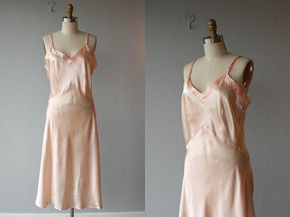 1930s lingerie / 30s silk nightgown / silk chemise / vintage 30s silk slip / 30s negligee / 38 bust - size medium. $128.00, via Etsy.