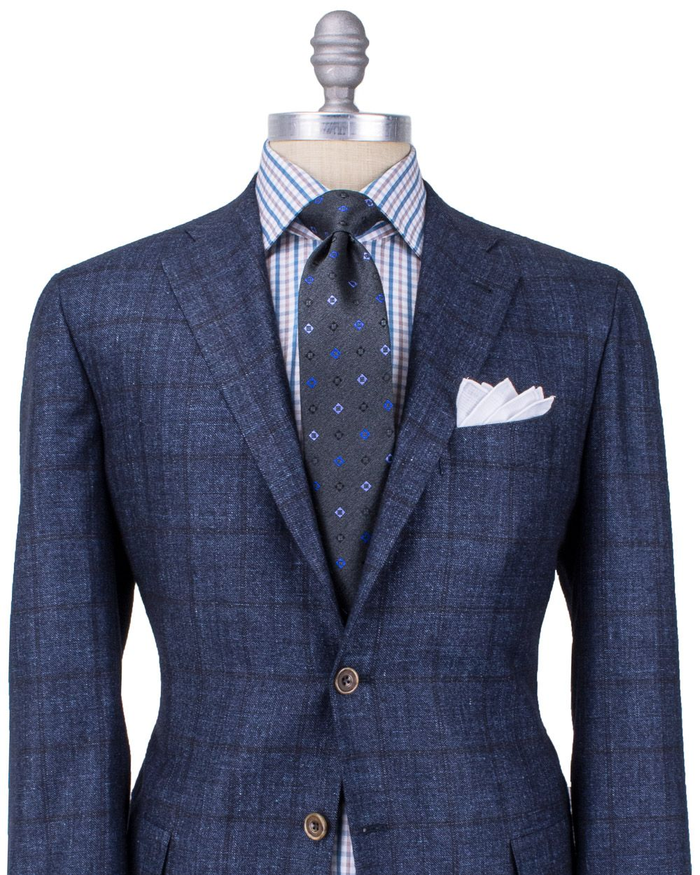 Kiton navy windowpane suit plaid shirt polka dot necktie for Navy suit checkered shirt