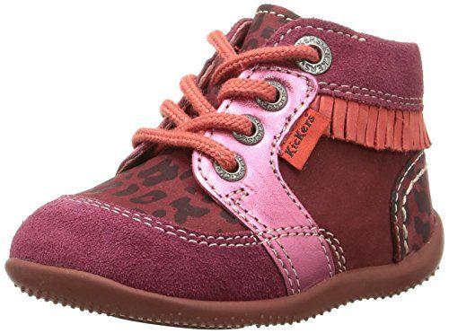 Kickers Zapatos Primeros Pasos de Piel Para Niña Rojo Rojo 0dLsLDPg
