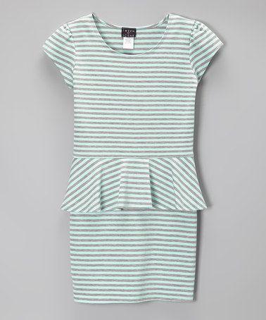 Another great find on #zulily! Heather Gray & Mint Stripe Peplum Dress - Girls #zulilyfinds
