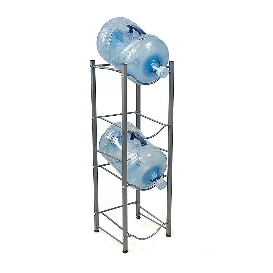 Mind Reader 4 Tier Water Cooler Jug Rack In Silver Water Coolers Bottle Rack Gallon Water Jug