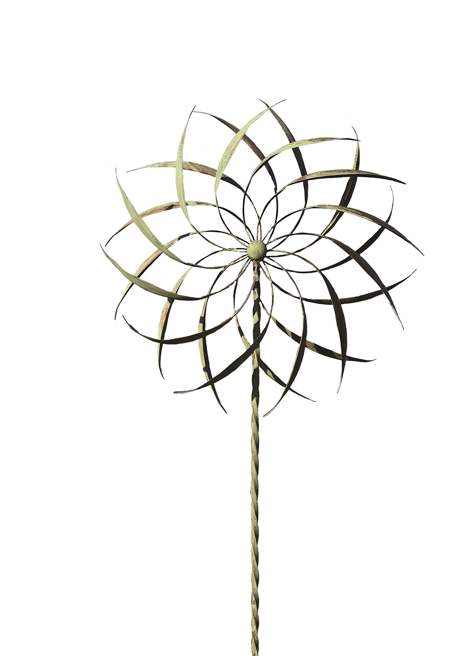 Ancient Graffiti Copper/Verdigris Pinwheel Staked Spinner, 22 By 75 Inch