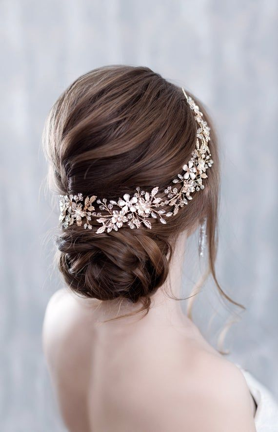 Wedding headband Crystal hairpiece Rhinestone headpiece Flower Bridal Headpiece With Crystals Wedding hair accessories Bridal hair piece #bridalhairflowers