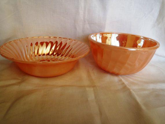 Fire King Peach Lusterware Bowls set of 2