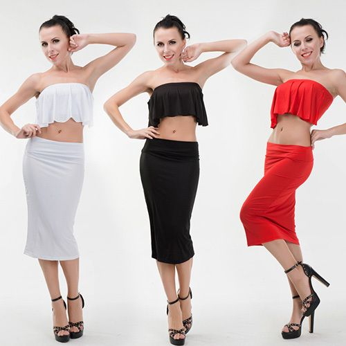 Sexy Flouncing Strapless Tops + Bust Skirt Two-piece Set