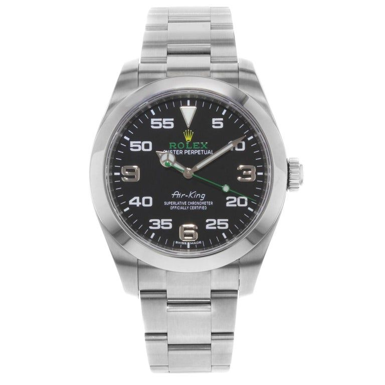 Rolex Air-King Green Hand 2016 Black Dial Steel Automatic Men's Watch 116900 #rolexwatches