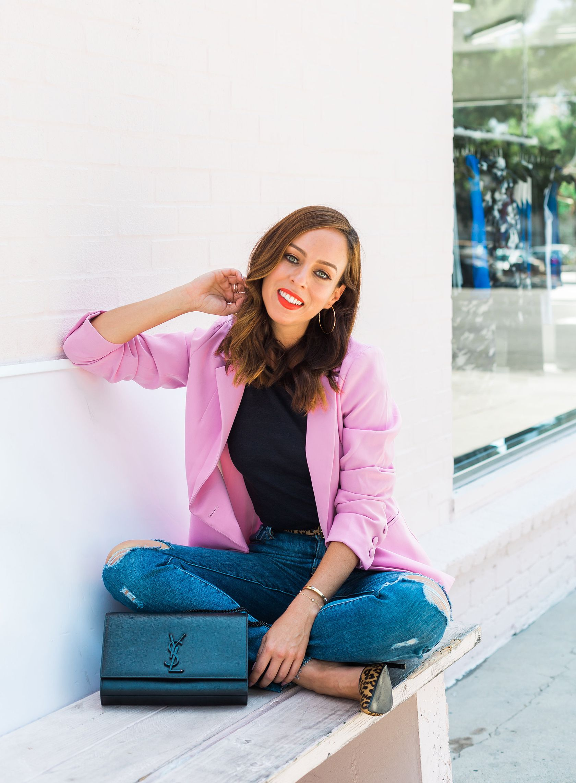 Sydne Style reviews ysl medium kate black bag  blazers  pink  jeans   leopard  sydnesummer 5b0ec551ca