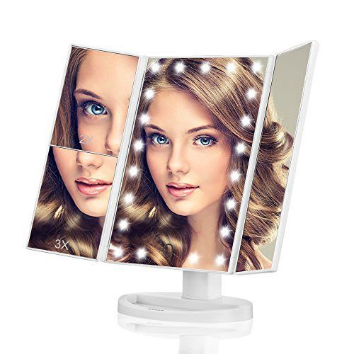 Makeup Mirror, Butyface Vanity Mirror with Lights, Touch Screen 21 LED Lighted Makeup Mirror with 1X/2X/3X and Removable 10X Magnification images