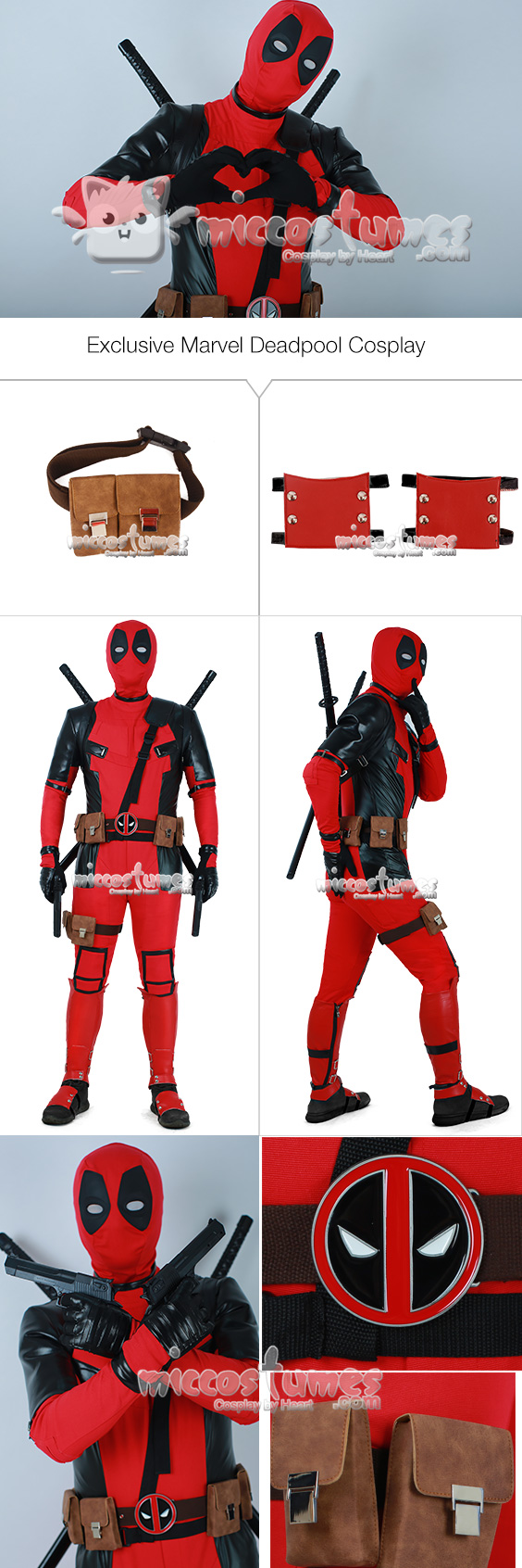 Exclusive Deadpool Cosplay Costume Suit with Hoodie and Belts Set