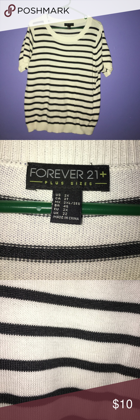 F21 white and black Forever 21 white and black short sleeve sweater Forever 21 Sweaters