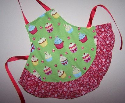Cupcakes and Snowflakes Childs Apron Christmas time  Monogram FREE Size 2-6 On SALE