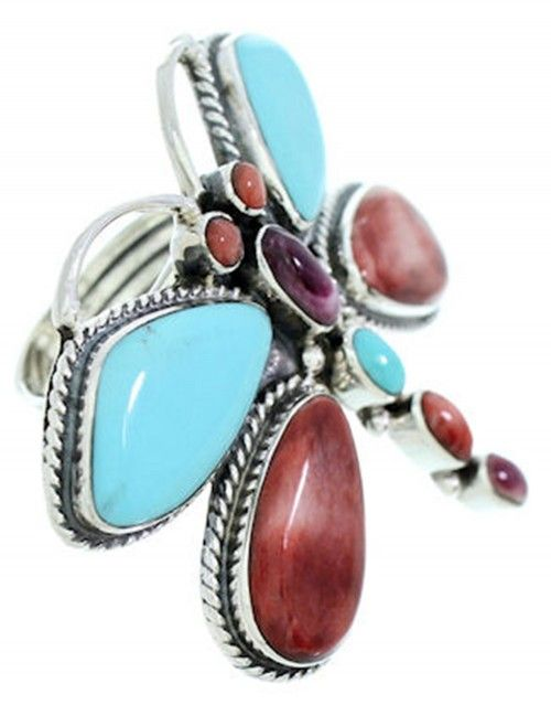 Dragonfly Multicolor Large Statement Southwest Ring www.silvertribe,com