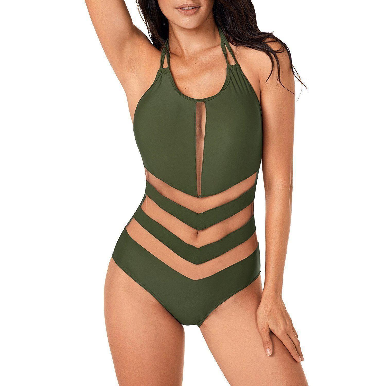 bd8045bb95eea Sexy Army Green Mesh One-Piece Summer Time Bathing Suit Swimwear