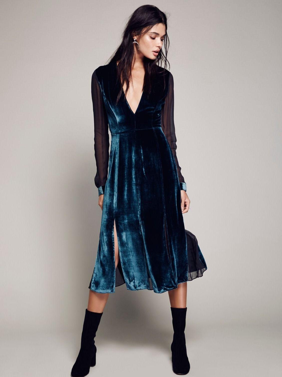 Retro Style Transparent Chiffon Patchwork Midi Dresses 2017 Autumn Long  Sleeve Dresses Sexy V neck Velvet 6201de5db