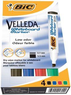 Whiteboardpenn med klare farger. Lett å fjerne fra whiteboardtavlen. Godt grep og slitesterk skråskåret spiss. Strekbredde 3,0-5,8mm. Pakning a 4 farger sort, blå, rød og grønn. (kr 61,99)