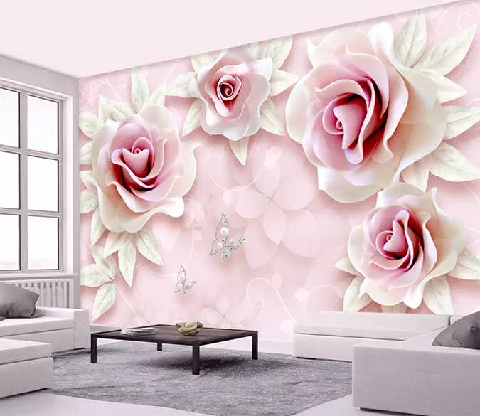 3d Rose Pink 127 In 2020 3d Wallpaper For Walls 3d Wall Murals Decal Wall Art