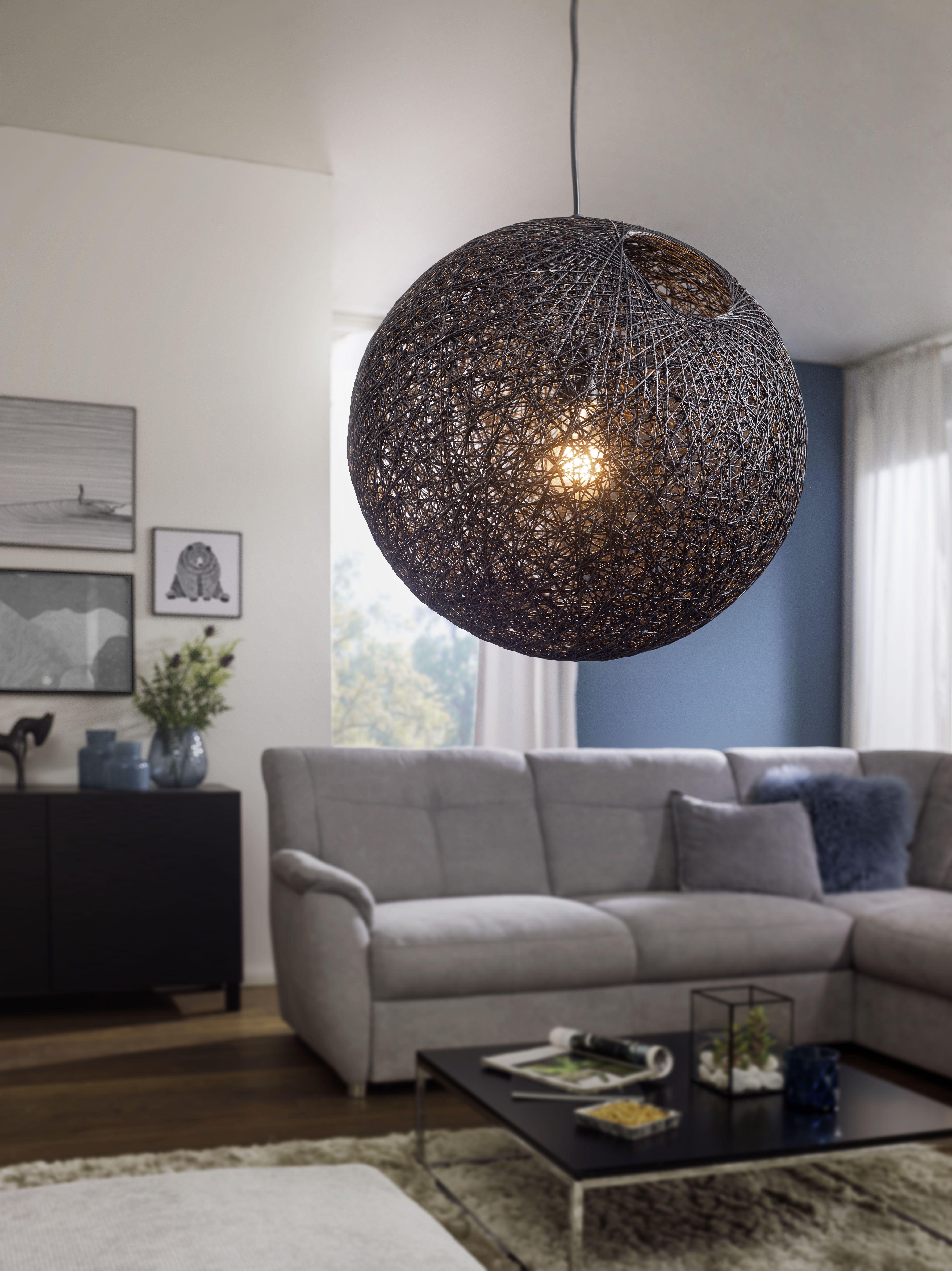 Wohnling Pendelleuchte schwarz 10 cm WL10.10 aus Rattan #Licht