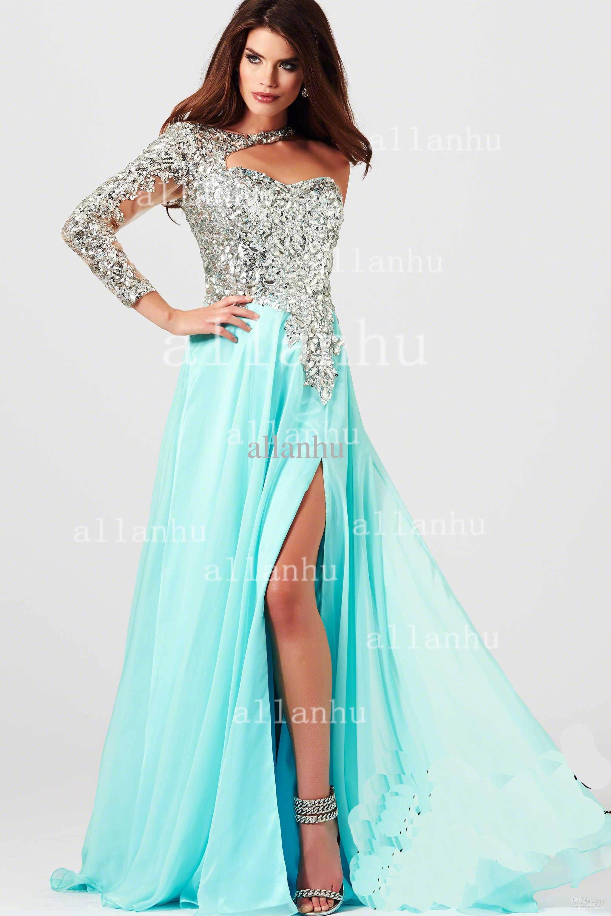Cheap Evening Gowns - Discount 2014 Prom Dresses One Shoulder Sheer ...