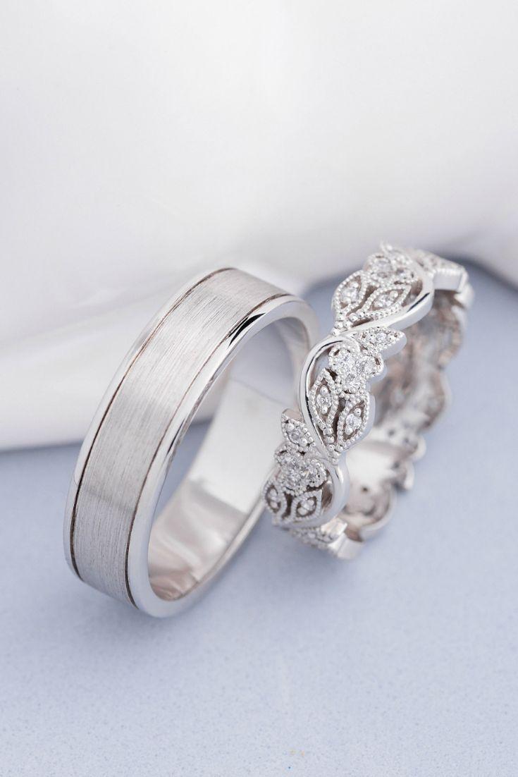 Seine und Ihre Hochzeitsbänder. Eheringe aus Weißgold. Diamant-Trauringe Co &;…