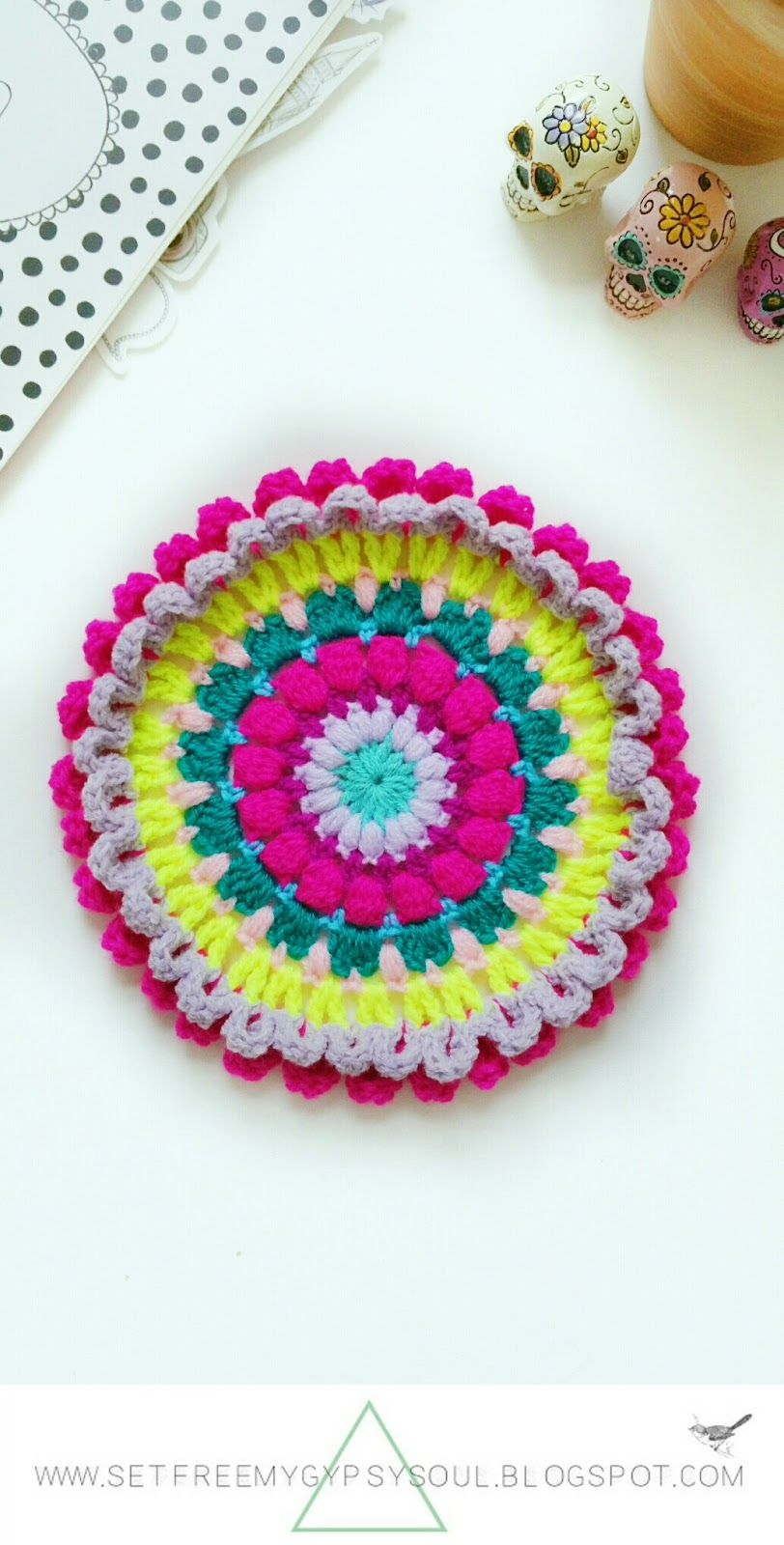 Psychadellic Parma Violet Mandala   Free Crochet Pattern - make this crocheted bohemian gypsy soul hippie trippy flower mandala for instant festival feels in your home, office, narrowboat or campsite!