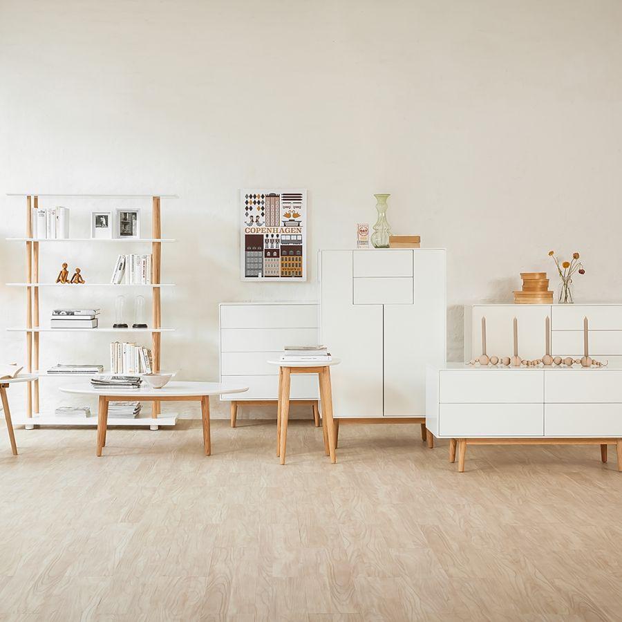 sideboard lindholm iv weiß dekor eiche massiv möbel