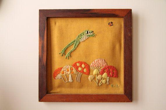 Mushrooms & Frogs  Framed Vintage Artwork  Crewel by illkniterate