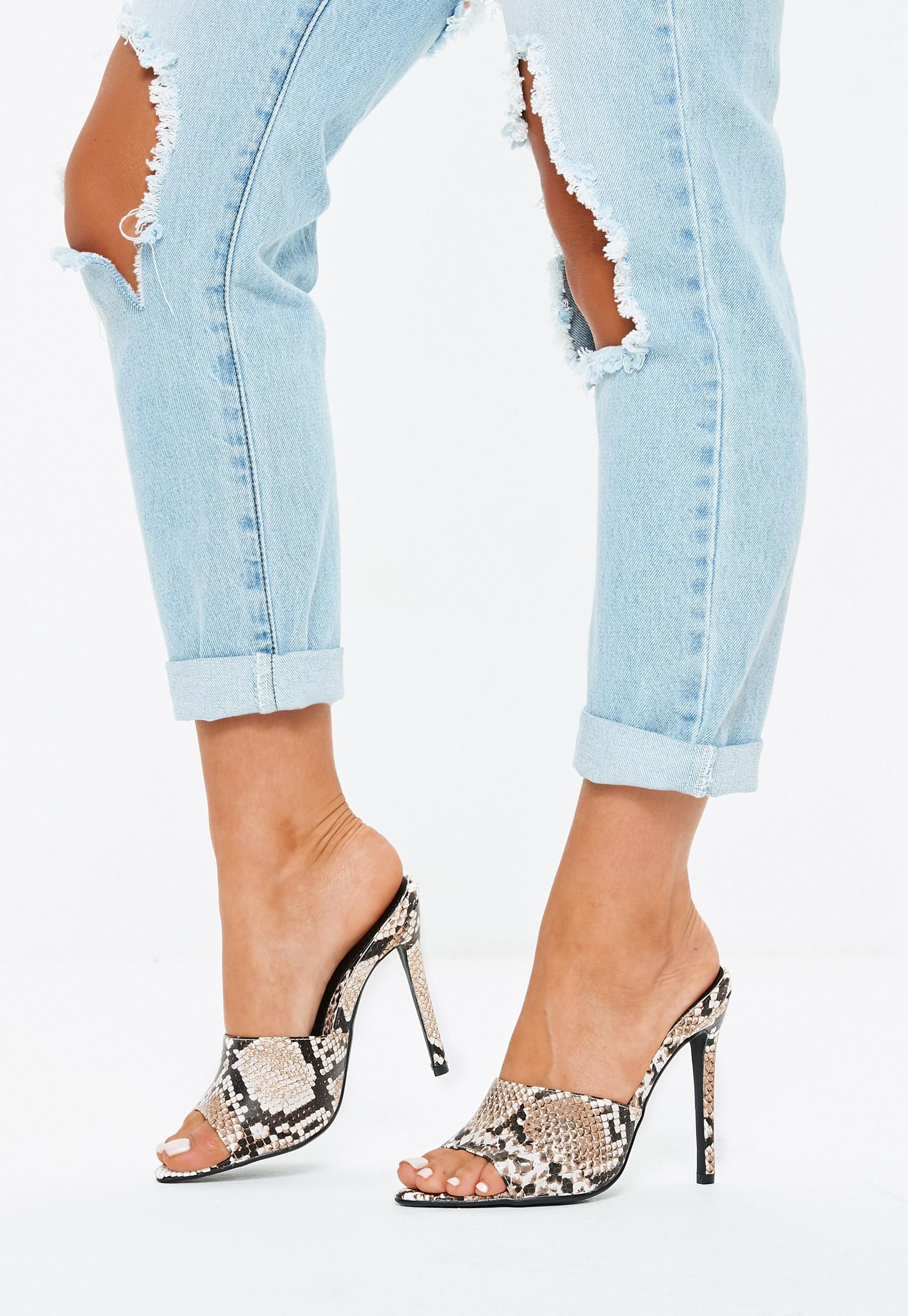 600aa7ca980 Gray Snake Pointed Toe Mules in 2019