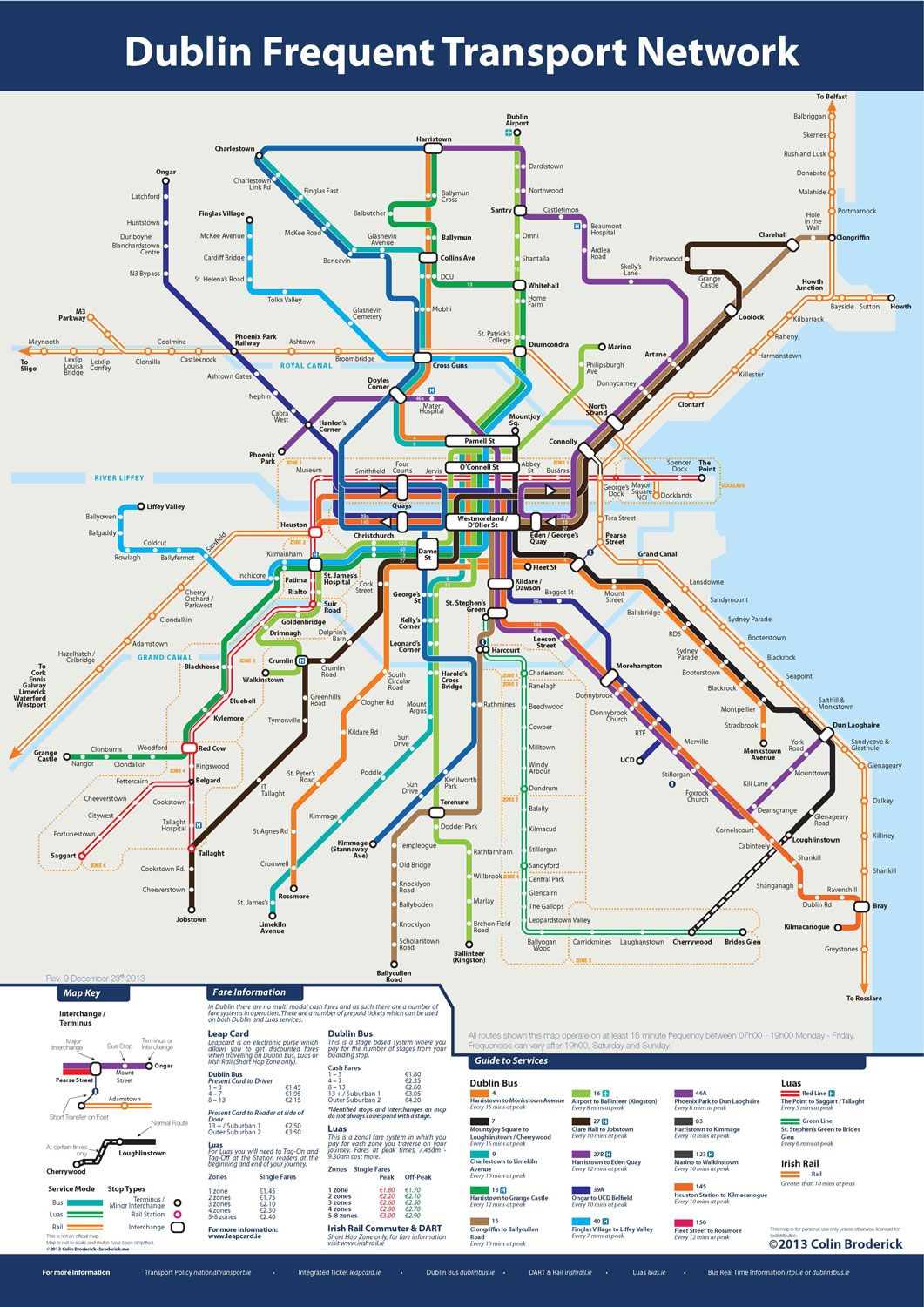 Never get lost with this new Dublin Frequent Transport Map Amazing