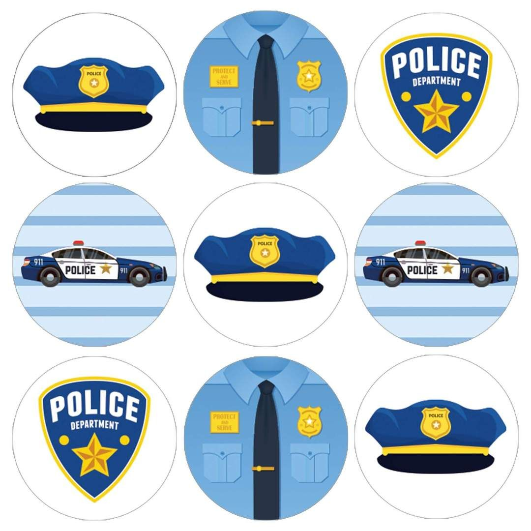 Police Birthday Party Favor Stickers 180 Count Festa Da Policia Festa De Bombeiro Festa Infantil Peppa