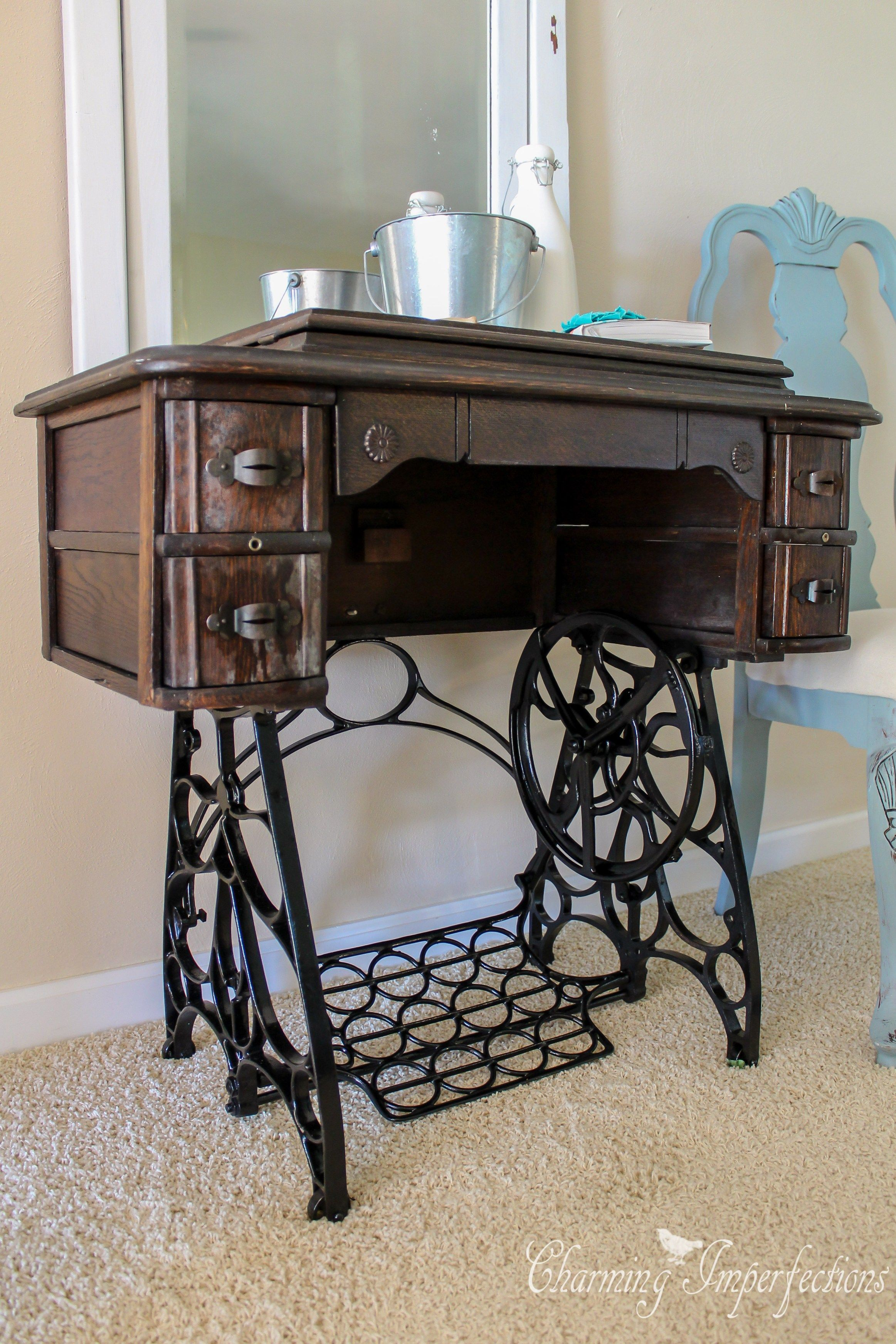 Antique Sewing table Gets Cleaned and Restored | Sewing ...