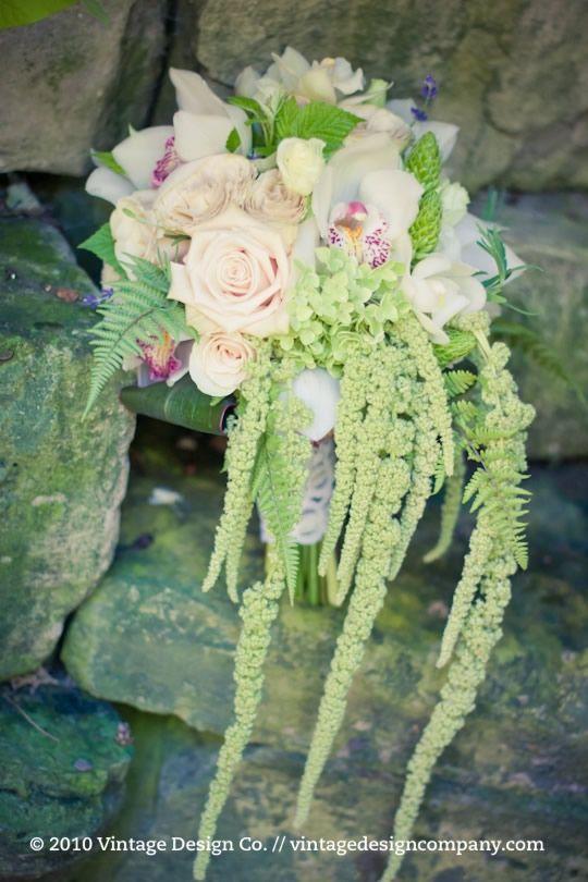 Hanging Amaranthus Completes It Cascading Bridal BouquetsWedding