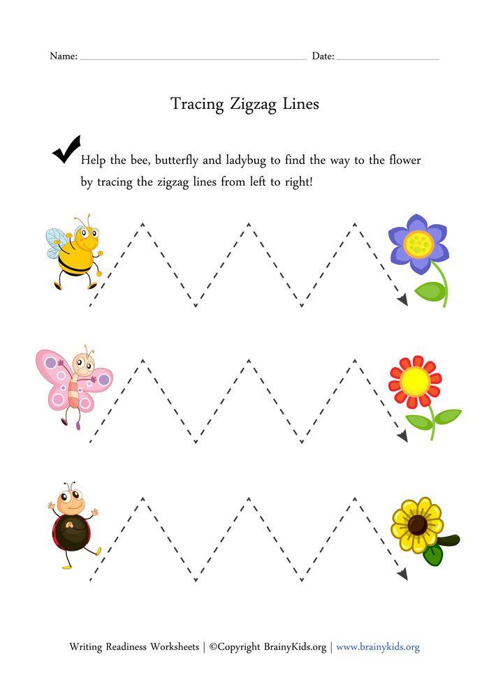 Tracing Zigzag Lines Worksheet Kindergarten Worksheets Kindergarten Activities Preschool Fun Zig zag worksheets for kindergarten