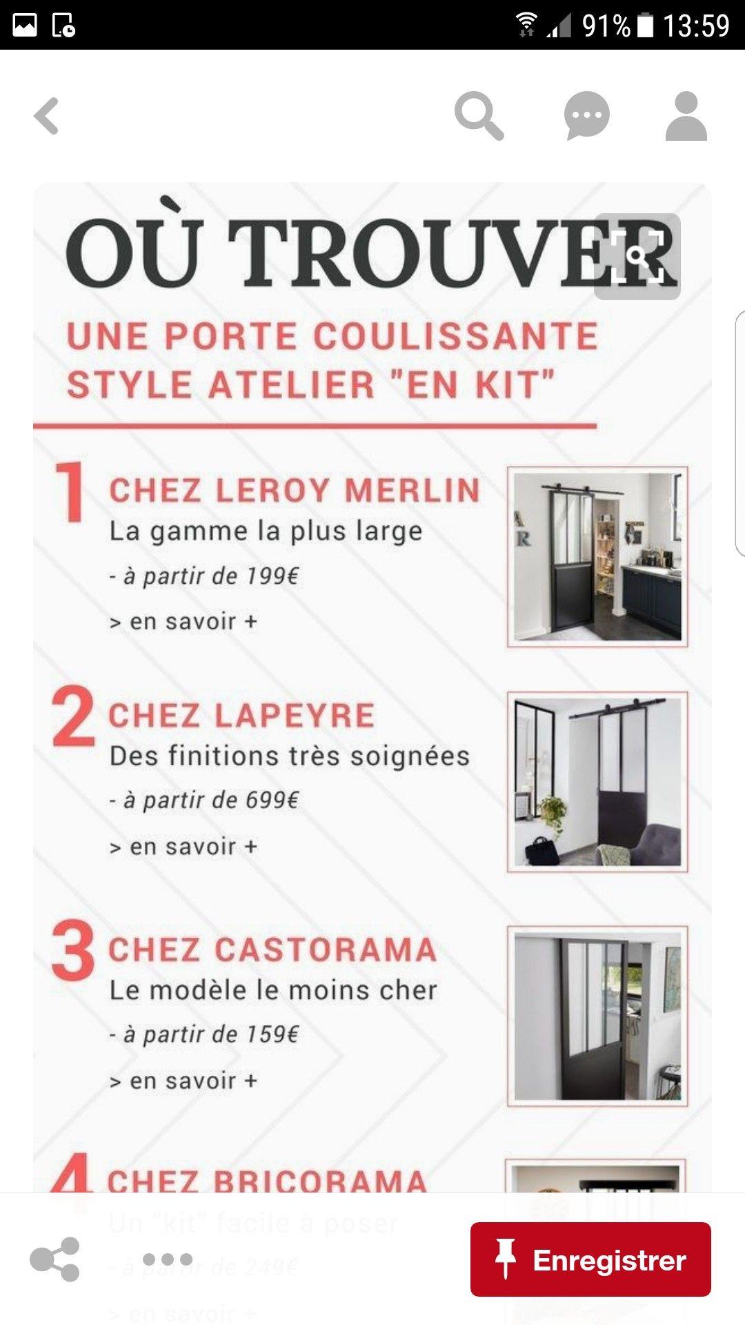 Epingle Par Sandy Sauvage Sur Idees Deco Bas Avec Images Porte Coulissante Style Atelier Porte Coulissante Castorama