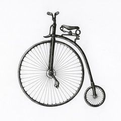 Hand drawn antique bike isolated on background  gezeichnet Hand drawn antique bike isolated on background  Buy this stock illustration and explore similar illustrations a...