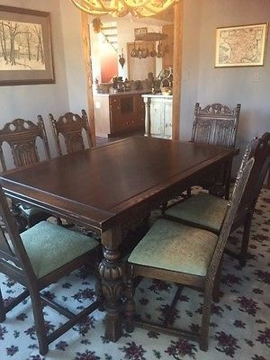 Antique 1930 S Jacobean Style Hand Carved Oak 9 Piece Dining Room Set