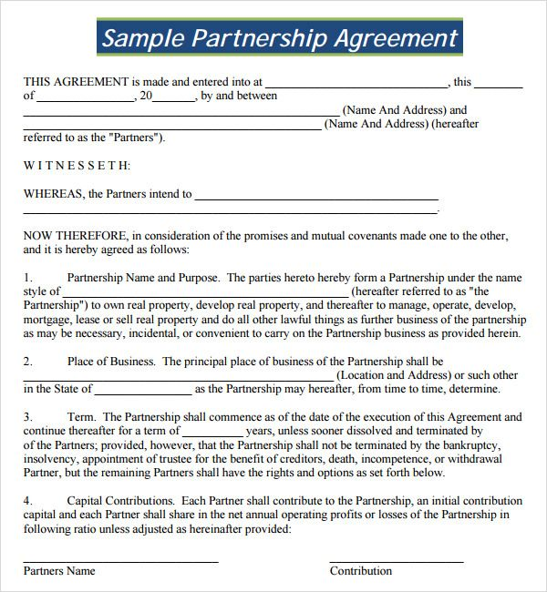 Partnership Agreement PDF partnership Agreement Templates - profit and loss template for self employed free