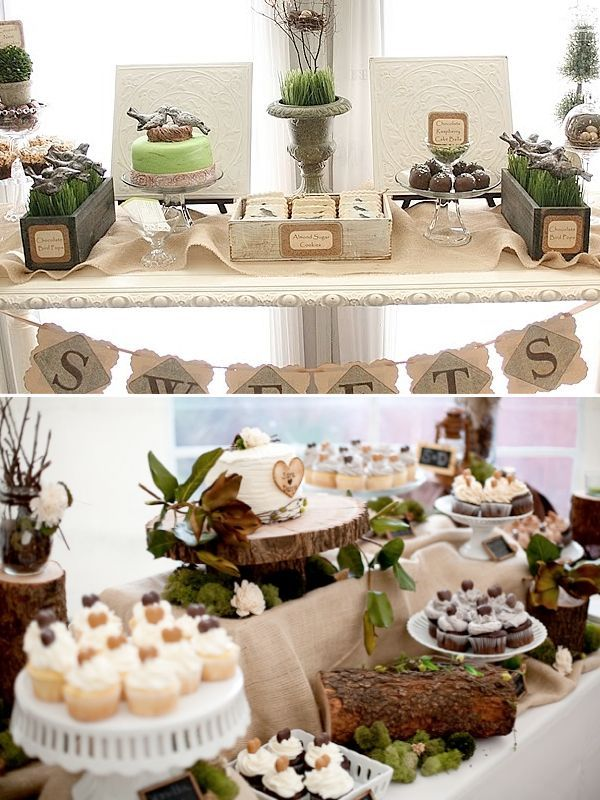 buffet de desserts pour un mariage sur le th me oiseau et nature mariage en vert pinterest. Black Bedroom Furniture Sets. Home Design Ideas