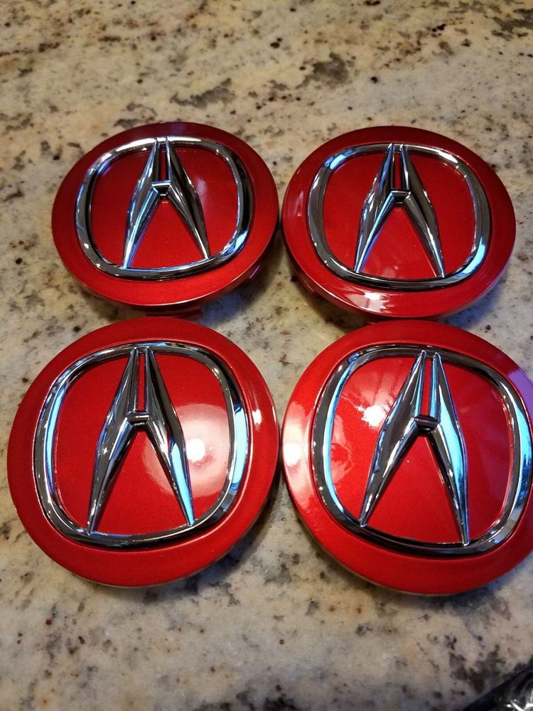 Red Acura Mm Inches Set Of Wheel Cent Red Center Caps - Red acura emblem