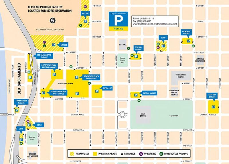 City of Sacramento Garage and Parking Lot Map | ***Sacramento ... Downtown Sacramento Parking Map on