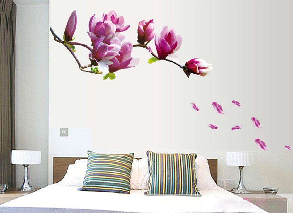 Ufengke fiori romantici adesivi murali camera da letto soggiorno adesivi da parete removibili - Stickers da parete personalizzati ...
