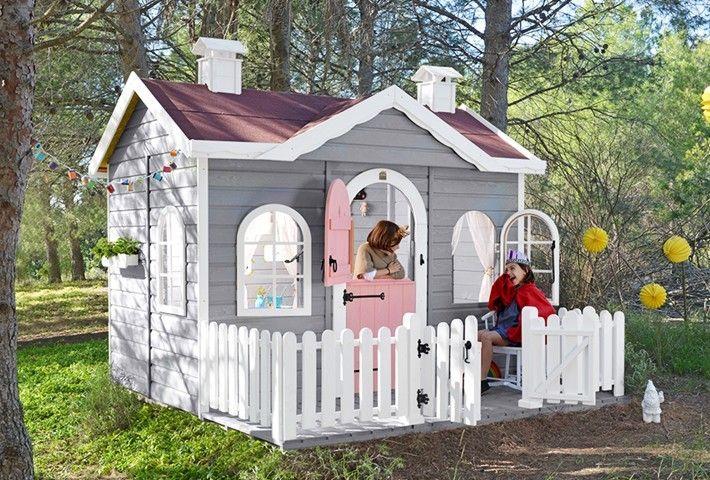 Kinderspielhaus Ava Aus Holz Fur Den Garten Mit Grosser Veranda Und Regendach Grundflachenmasse 246 Cm Breit X Garten Spielhaus Holz Spielhaus Garten Spielhaus