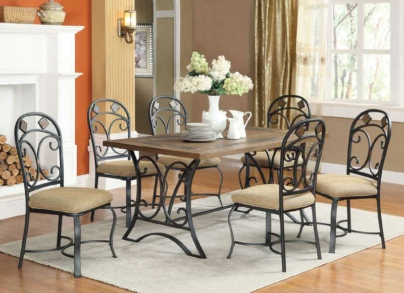 Acme Furniture  Keile 7 Piece Rectangular Dining Table Set Stunning Acme Dining Room Set Decorating Design