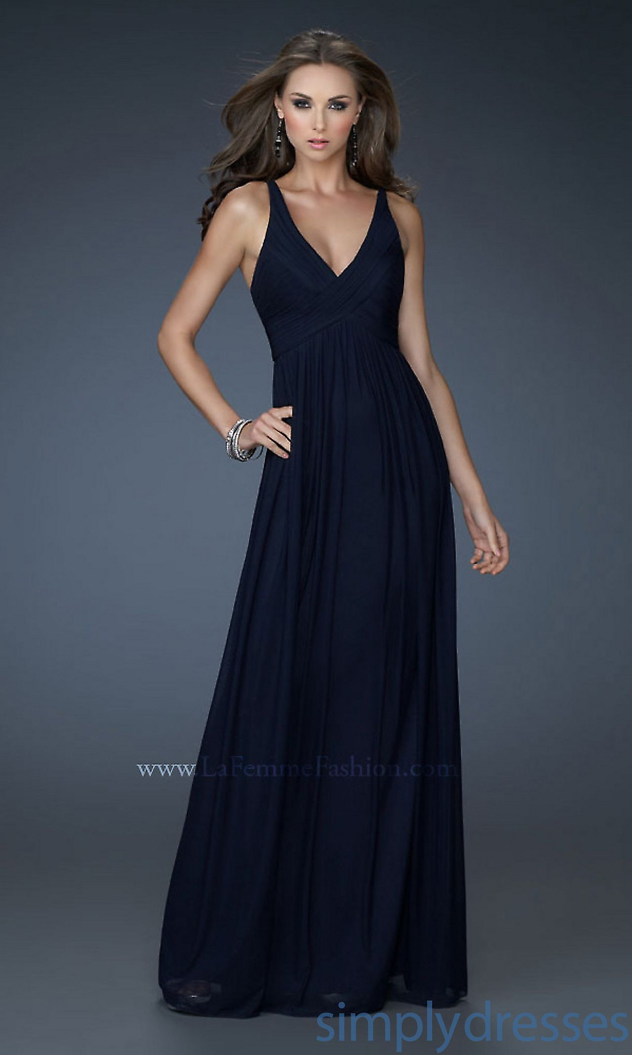 Beautiful simplicity long vneck navy gown lf