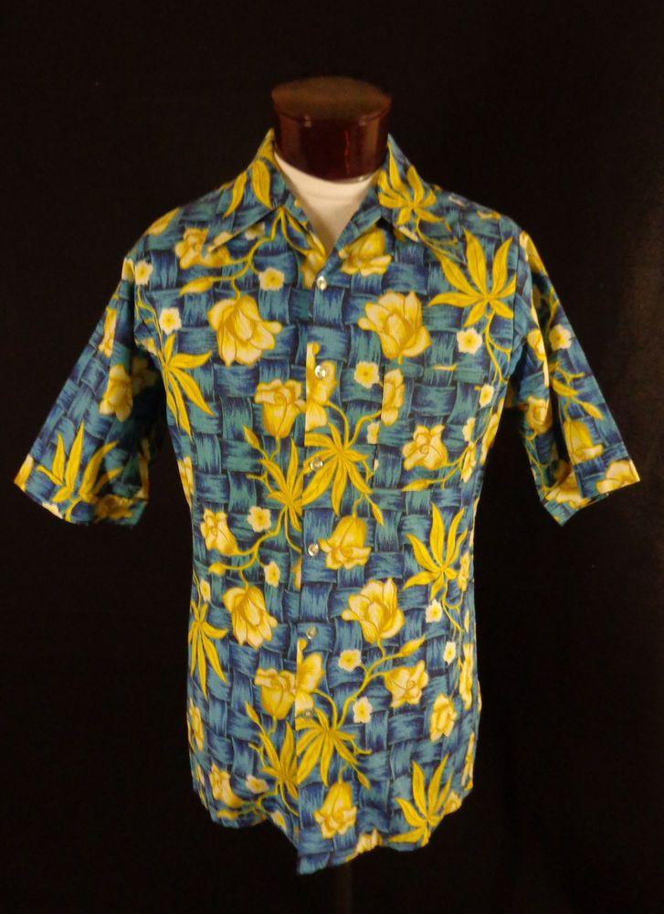 0f607f56 Vintage Don Loper Blue Wicker & Yellow Hibiscus Print Hawaiian Shirt-L-Tall-VLV  #DonLoperbyTheDukeofHollywood #Hawaiian #VLV