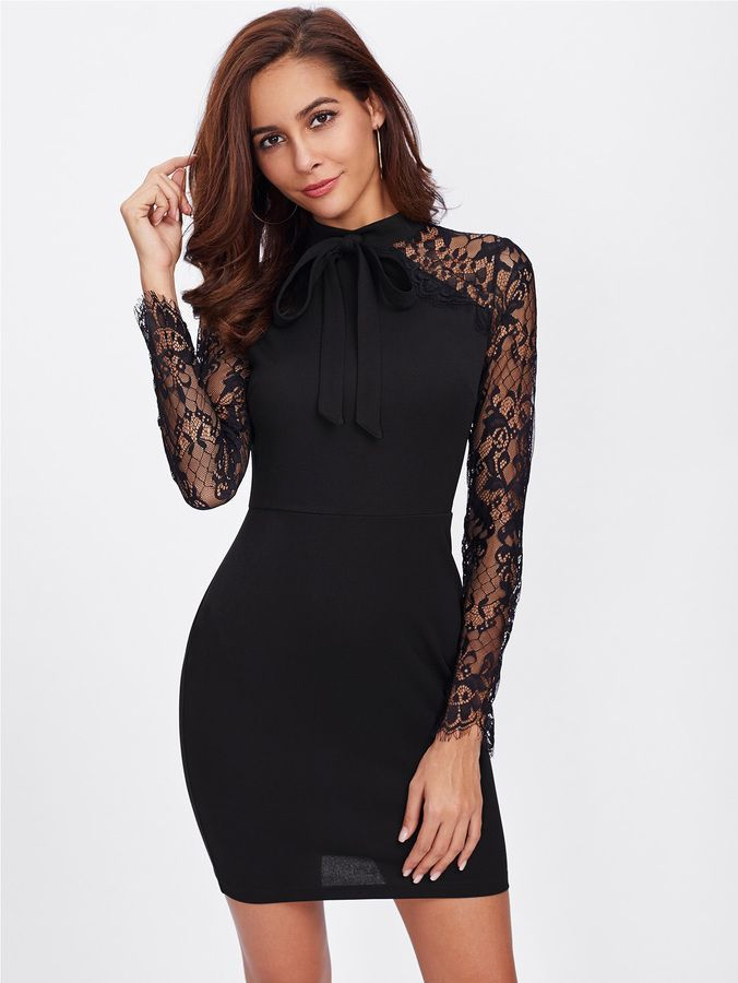 44e526e27c Shein Bow Tie Front Floral Lace Sleeve Dress | Products | Lace dress ...