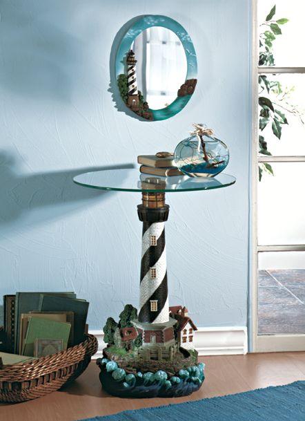 Good Lighthouse Home Decor Catalogs | Tables Lighthouse Glass Top Light Table  House Lamp | EBay