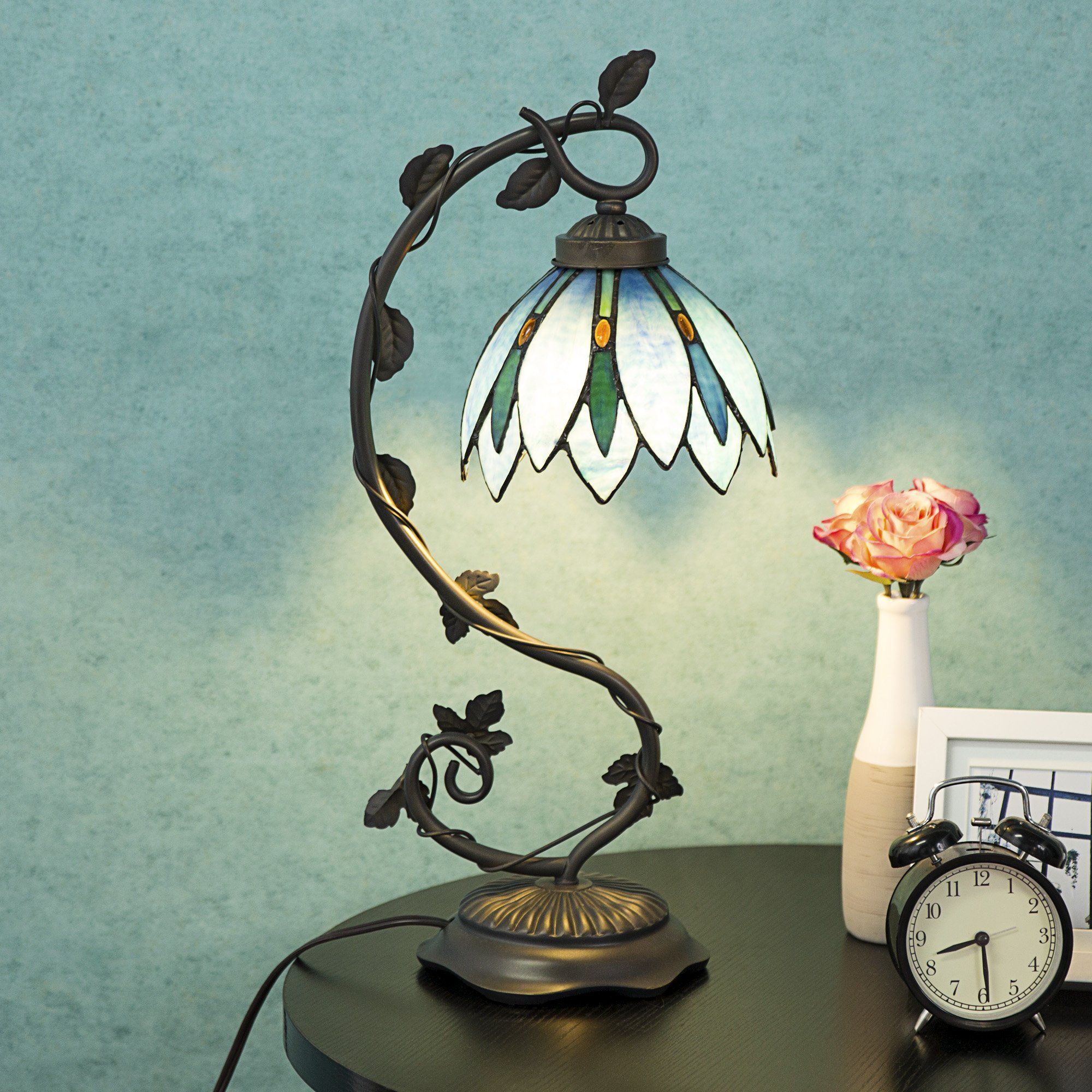Cloud Mountain Tiffany Style Arched Table Lamp Light Blue Floral